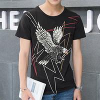 Fashion eagle wolf print New Men's T-Shirt short sleeve o neck t shirt casual Loose Fit Tops tshirt BMTX44 FF