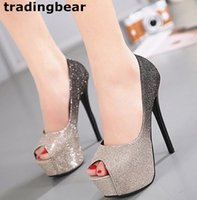 Sexy ladies high heel platform peep toe shoes gradient color...