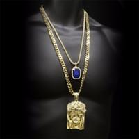 Hip hop Golden Crowned Jesus Head Pendente Iced Out Collana con gemma quadrata in cristallo Catena cubana