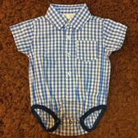 Baby Boy Clothes Gentleman Style Romper Turn- down Collar Blu...