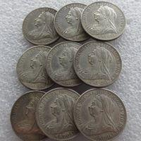 풀 세트 (1893-1901) 9pcs 빅토리아 여왕 영국 실버 1 플로린 복사 동전