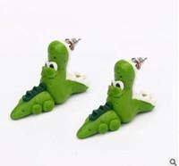 Handmade Polymer Clay Crocodilo Dinossauro Para As Mulheres Animal Fine Fashion Girl Brinco 1 Par Brincos Jóias