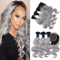 Ombre Body Wave Hair Bundles con cierre Virgin Virgin Hair Dark Root # 1B Trama de cabello gris con cierre 4x4 4Pcs / Lot