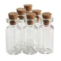 Vente en gros- 5pcs / lot 2ml Petit transparent vide souhaitant une bouteille en verre Dérive une bouteille Message Flacon avec bouchon en liège Flacons Flacons Récipients