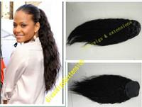 Novo penteado extensões de rabo de cavalo do cabelo humano para as mulheres negras, 1b onda solta humano cabelo virgem brasileiro rabo de cavalo afro cordão