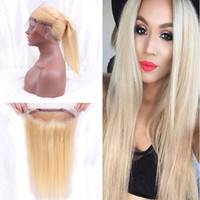 Pre desplumado 360 Lace Band Frontal 22.5 * 4 * 2 Blonde 613 Virgen del pelo humano 360 Lace Band Frontal Free Middle Part