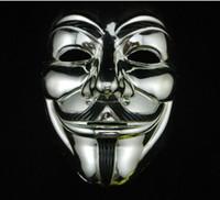 الذهب والفضة قناع V الثأر قناع الذهب الأسود مع كحل غي مجهول فوكس الهوى أقنعة هالوين زي الكبار