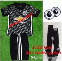 new TOP QUALITY 2017 2018 Kids kit+ socks+ patch black soccer ...
