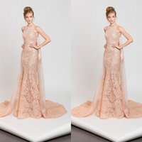 Tony Ward 2017 Pink Mermaid Evening Dresses With Cape Lace A...