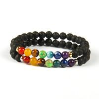 Nuevo Diseño 7 Chakra Healing Stone Yoga Meditación Pulsera 6mm Lava Rock Stone Beads con colores de la mezcla Pulseras de piedra para regalo