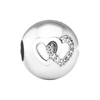 Pandulaso coração bond charme coração clipe serve encantos pandora pulseiras mulher diy contas para fazer jóias autêntica 925 prata esterlina
