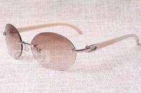 Óculos de sol redondos retros da moda high-end 8100903-B ângulo branco natural A melhor qualidade óculos de sol homens e mulheres óculos Tamanho: 58-18-140 mm