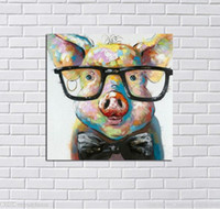 Framed Lovely Pig, Pure Hand Painted Modern Wall Decor Pop Pe...
