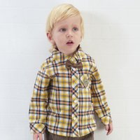 2017 Autumn Boys Baby Kids Yellow Plaid Shirts Cotton Plaid ...