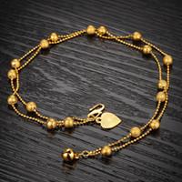 النساء هدية محظوظ 18K الذهب الأصفر معبأ الخرز مزدوجة سلسلة الخلخال مجوهرات