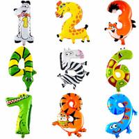 1pcs numero animale palloncino stagnola matrimonio buon compleanno decorazione festa palloncini bambini babys giocattoli per bambini regali all'ingrosso della fabbrica