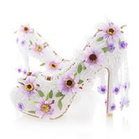 Sapatos de Casamento de Salto Alto Flor de Renda branca Moda Mulheres Bonitas Do Partido Do Baile de Finalistas Sapatos Peep Toe Bombas de Boate de Verão com Borla
