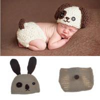 Baby Infant Dog Crochet Berretto Cap Costume Prop Bambino a maglia Fotografia Prop Neonato Cappelli Pantaloni Puppy Dog Costume BP047