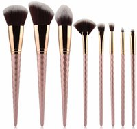Pennello per pennelli per unghie in oro rosa 8 PCS Pennello per unghie in nylon per sopracciglia Pennello per ombretto in polvere per capelli in rosa