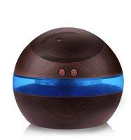 USB ultrasone luchtbevochtiger 300 ml aroma diffuser etherische olie diffuser aromatherapie mist maker met blauw LED-licht (donker hout)