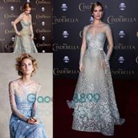 Cenerentola In Abiti da Celebrity Elie Saab Couture Red Carpet 2019 Perle modali in Pizzo Blu Perle Illusion Dress Prom da Manica Lunga