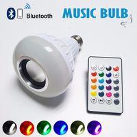 SANS Wireless 12W Power E27 LED RVB Bluetooth Haut-parleur de l'ampoule Lampe de lumière Musique Lecture de l'éclairage RVB avec télécommande