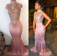Sexy Pink Sleeveless Mermaid Long Prom Dresses 2018 High Nec...