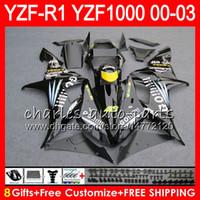 8Gift 23 컬러 바디 YAMAHA YZF R1 YZF 1000 YZFR1 02 03 00 01 광택 블랙 62HM24 YZF1000 R 1 YZF-R1000 YZF-R1 2002 2003 2000 2001 페어링