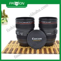 Wholesale- Best Selling 400ml capacity original logo camera high quality lens cup with flat cover mug cup coffee cup