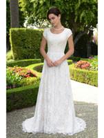 País Modesto Vestidos de novia con mangas de gorra Champagne Boho Boho Boho Brides 'Outdoor Formal Dress Beach Wedding Hecho a medida