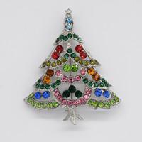 Оптовая мода брошь горный хрусталь Рождественская елка Pin броши Рождественский подарок C101666