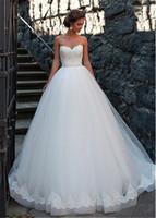 Increíble Tulle Sweetheart Escote Bola Vestidos de novia con apliques de encaje Bandeado Sash Vestido nupcial Vestido de Novia