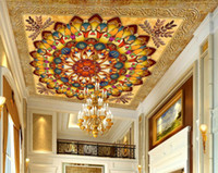custom 3d ceiling Rich yellow circle leaves family name patt...