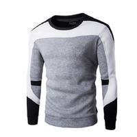 Moda 2017 otoño nuevo suéter a rayas hombres polo marca patchwork Suéteres jersey de manga larga de alta calidad suéter de cachemira hombres WY02 RF