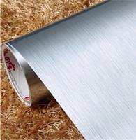 Toptan-PVC Kendinden yapışkanlı duvar kağıdı Gümüş Fırçalı Paslanmaz Çelik Eşya Çıkartma Mobilya Film İçin Ev Dekorasyonu