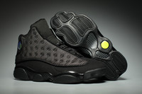 Wholesale NEW 13 XIII OG Black Cat All Black 13s men basketb...
