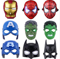 LED-Flash-Maske Kinder Halloween Masken glühende Beleuchtung Maske Avengers Hulk Captain America Batman Ironman Spiderman Party Maske Boy Geschenk