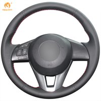 Mewant Black Genuine Leather Steering Wheel Cover for Mazda ...