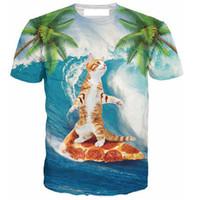 Großhandels-neues Frühlingssommer-T-Shirt 3d Druck-T-Shirt Katze auf Pizza-Mode-Kleidungs-T-Shirts Chemise Camisas für Unisexfrauen Männer