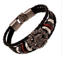 Étoile vintage Anchor crâne Perle Bracelet tissé Punk Bracelet en cuir pour hommes Bijoux Hip-hop Multilayer Braid Wrap Bangle G45