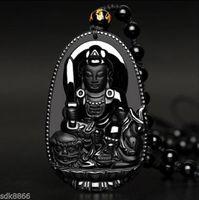 Colgante de obsidiana negro hecho a mano de Bodhisattva Manjusri Buddha de la obsidiana del 100%
