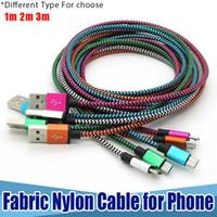 Nuovo cavo di nylon intrecciato in tessuto intrecciato di nylon di dati di colore doppio Cavo di ricarica usb di caricatore di cavo usb di intreccio per cavi Samsung S6 tipo C