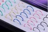 خواتم الأنف الأزرار جديد 40 قطع الأنف الدائري مربع التغليف ثلاثة ألوان الأنف الدائري مجموعة اوجير الملحقات الزخرفية