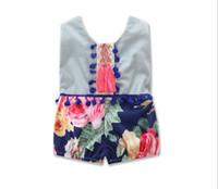 Летние Baby Babyie Новый цветок Помпон кисточка девушка ползунка мода цветочные дети синий и белый фарфоровый комбинезон W1770