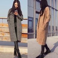 Cardigan long femme automne hiver pull femme solide dames manches longues cardigans en tricot pull gris camel noir