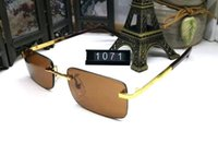 Hot sale brand designer sunglasses for men new golden metal ...