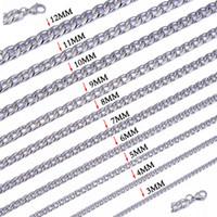 """Bredd 3mm / 4mm / 5mm / 6mm / 7 mm / 8 mm / 9 mm / 10 mm / 12 mm 316L Rostfritt stål Mens NK COOL CURB LINK CHAIN-halsband (18 """"-22 tum)"""