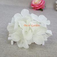 100pcs 인공 꽃 실크 가짜 꽃 머리 장식 웨딩 홈 장식을위한 고품질 실크 수국 무료 배송