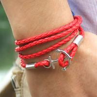 Herrenanker Multi Surround-Geflecht Infinity Armband Schmuck Geschenke mit Weiß, Rot, Khaki-Farbe