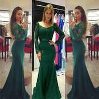 Elegant Fast Shipping Dark Green Evening Dresses Lace Sleeve...